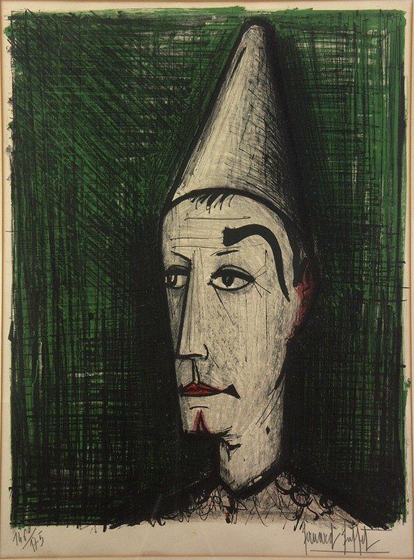 """4: BERNARD BUFFET (1928-1999) """"Clown"""" Lithograph Print"""