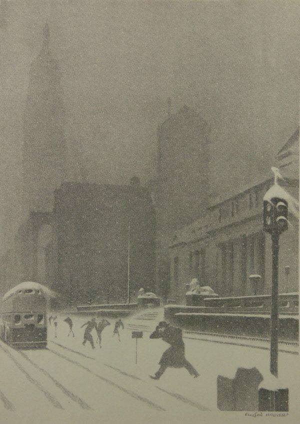 16: sg. Ellison Hoover 1888-1955 NY Library Litho Print