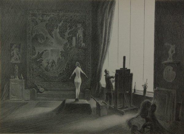17: Ellison Hoover 1888-1955 Nude Artist Studio Print