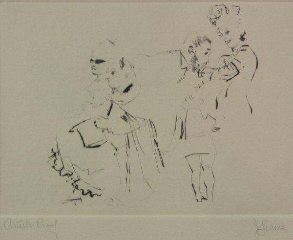 22: Jack Levine (1915-  ) Soft Ground Etching AP Print