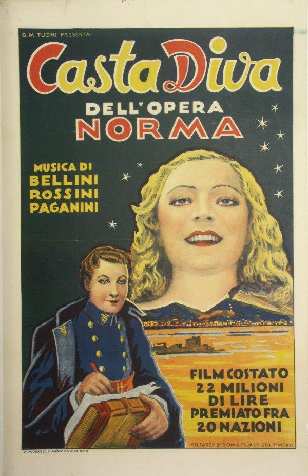 56: Original 1920s ITALIAN - OPERA Norma Movie Poster