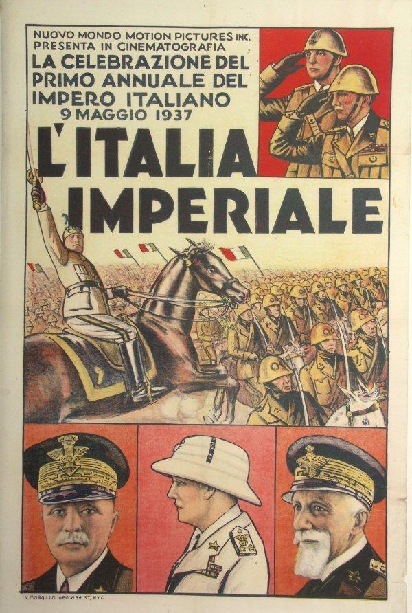 63: ITALIA - IMPERIALE Old 1937 Mussolini Cinema Poster