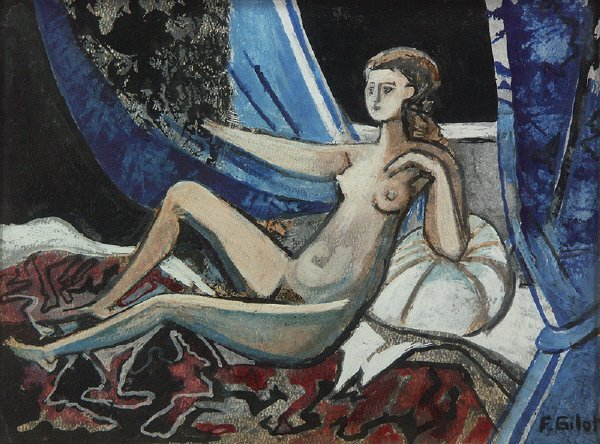 98: sg. Francoise Gilot  (French 1921-  ) Nude Painting - 7