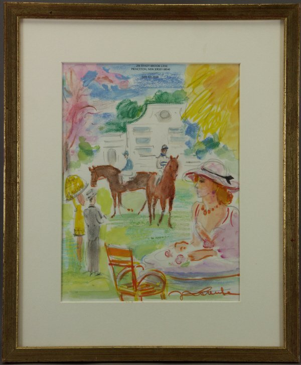 117: Jean Lareuse (French 1926-  ) Horse Race Painting  - 2
