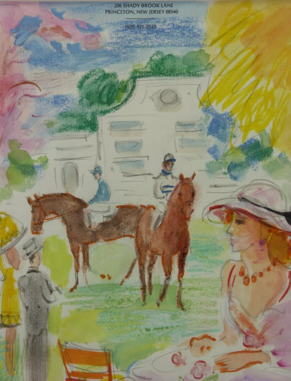 117: Jean Lareuse (French 1926-  ) Horse Race Painting  - 3
