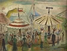 Kamil Lhotak Czech. 1912-1990 Circus Oil Painting