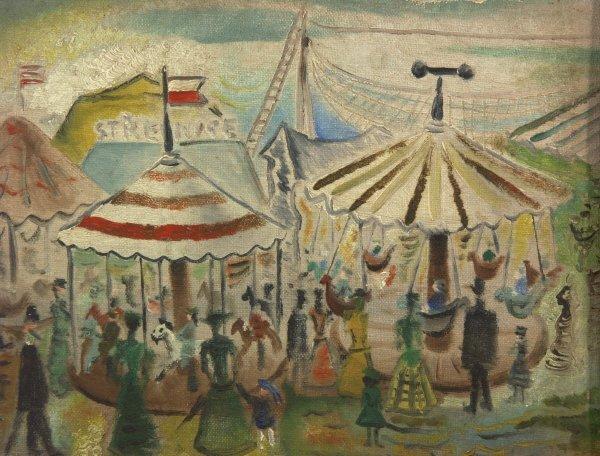 118: Kamil Lhotak Czech. 1912-1990 Circus Oil Painting