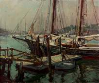 221: Emile Gruppe (1896-1978) Rockport Harbor Painting