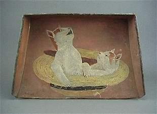 Old 19C. Folk Art Painted 2 Kitten Cat s Tin Dustpan