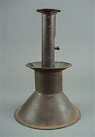 Old Large Antique Tin 19th C. Push Up Candlestick