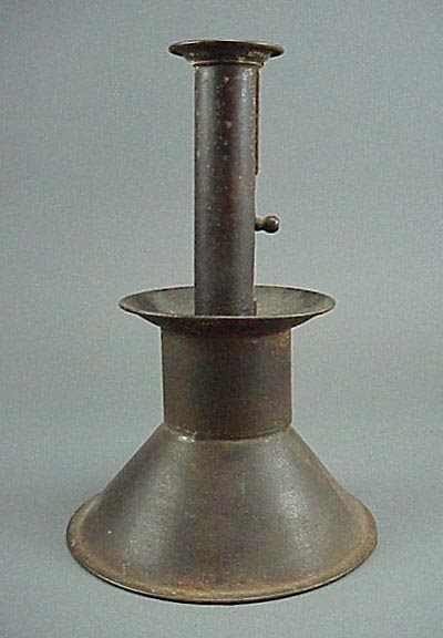 3: Old Large Antique Tin 19th C. Push Up Candlestick