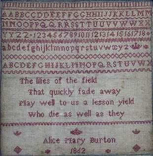 English 19C Alphabet Verse Sampler A. Burton 1862