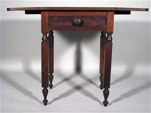 Sheraton 19C Cherry NY One Drawer Drop Leaf Stand