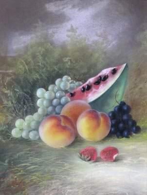 John S. Bower, Am. 19C. Pastel Still Life Painting