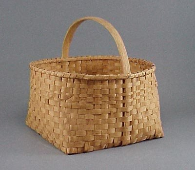 9: Old Hickory Splint Handled Basket with Square Bottom