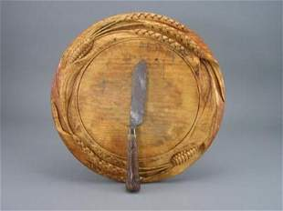 Old Carved 19th C. Bread Board Sheaf of Wheat