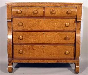Fine Empire 19thC Figured Maple and Cherry Chest