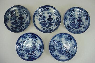 15: Five Old English 19th C. Oriental Flow Blue Plate s