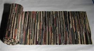 Antique 19C HandMade Rag Rug Wool Runner 20 Ft Long