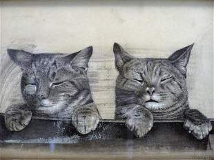 Old Signed Kittens 19thC Primitive American Drawing
