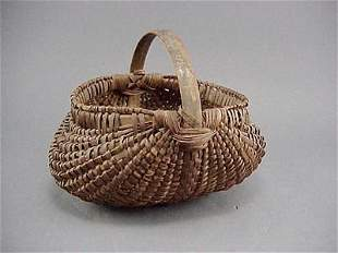 Finely Woven Antique Hickory Splint Buttocks Basket