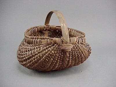19: Finely Woven Antique Hickory Splint Buttocks Basket