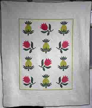 Unusual Pineapple Tulip 1920s Applique H.Made Quilt