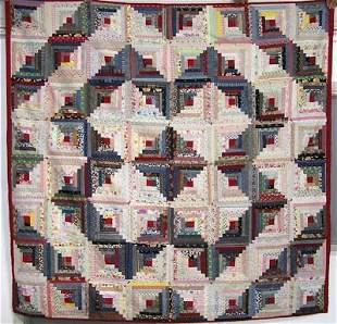 Calico 1870-1920s Fabric Log Cabin Quilt Ex. Cond.