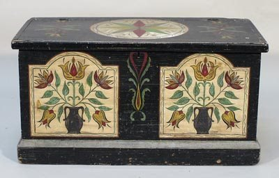 22: Pennsylvania Dutch 19C. Painted Pine Tool Chest