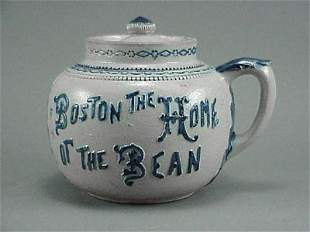 Old Boston Bunker Hill 19th C. Stoneware Bean Pot