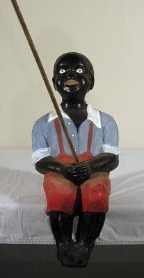25 Old Black Americana 28inch Fishing Boy Lawn Statue