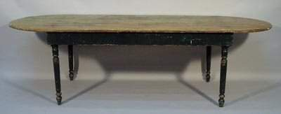 128: Old 19th C. Country Pine Adirondack Harvest Table