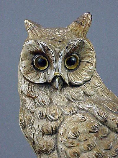 174: Old Rare Vintage Cast Iron Owl Doorstop Door Stop - 4