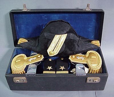 220: Old US Navy 1930s Epaulets Four Aft Hat with Case