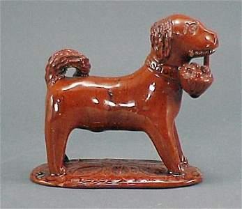 294: Antique Redware Dog with Basket John Bell