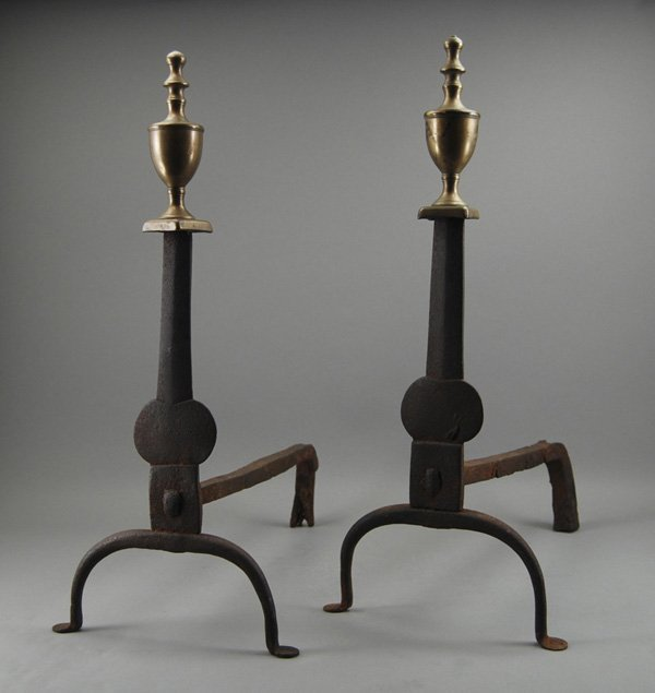4: Pair of Knife Blade 19th Cent. Iron & Brass Andirons