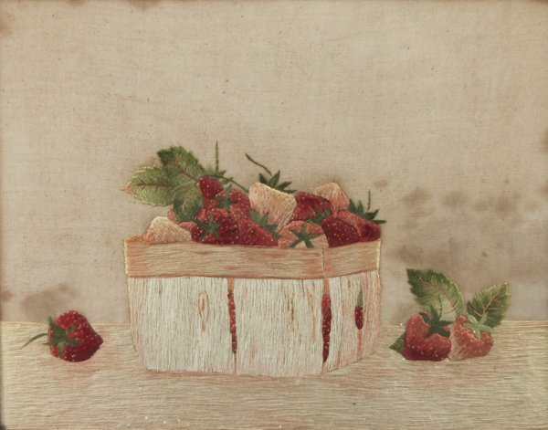 5: Pictorial 19thC. Antique Strawberry Silk Embroidery