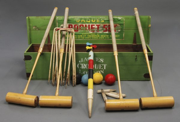 7: Jaques London Heath Surrey Antique Croquet Set w Box