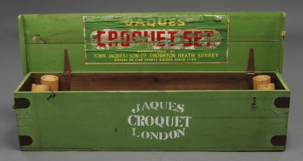 7: Jaques London Heath Surrey Antique Croquet Set w Box - 2