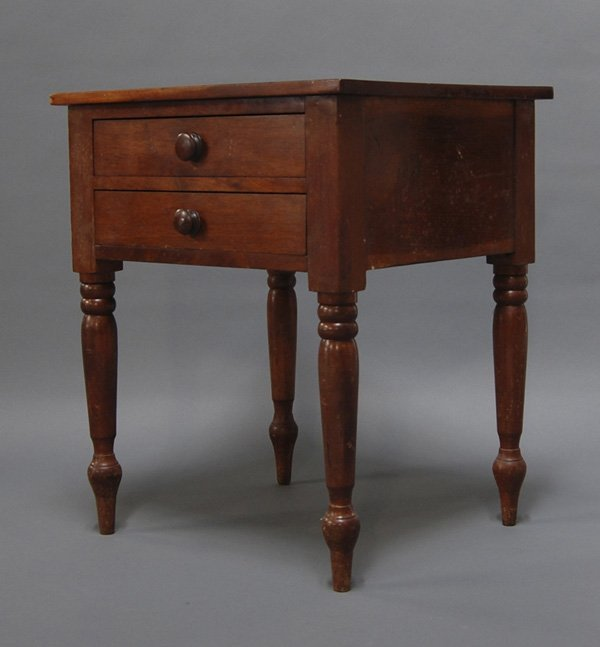 8: Antique 19C. Sheraton Two Drawer Cherry Work Table