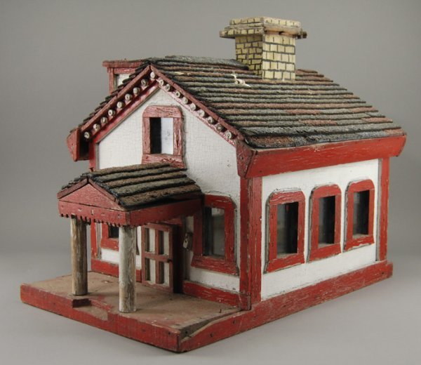 10: Antique Folk Art - Painted Wood 1920's House Model