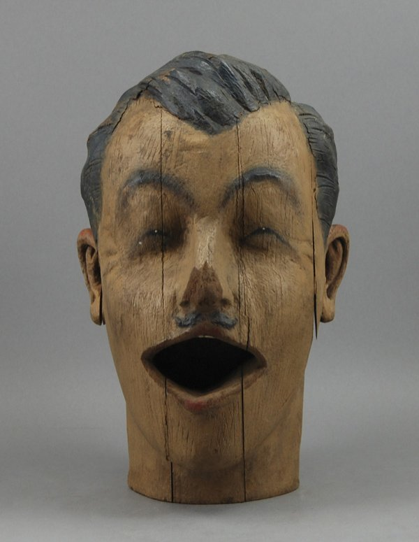 15: Carved Wood 19th C. Painted Carnival Lifesize Head