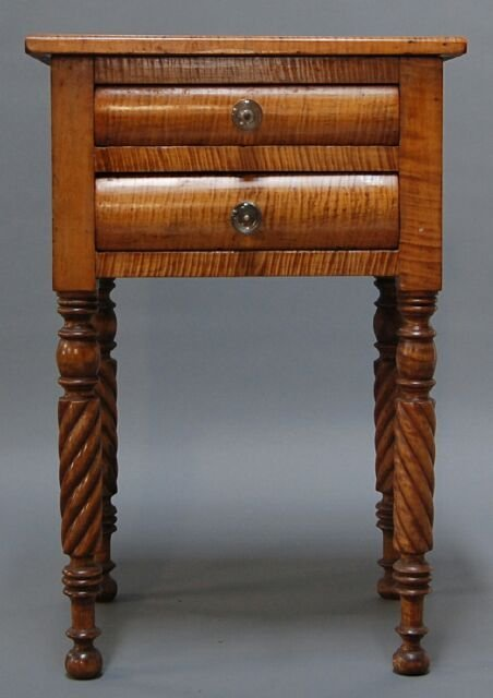 16: Federal 19C Tiger Maple Two Drawer Work Table
