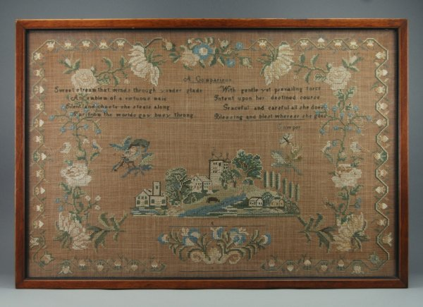 18: Embroidered 19C. Verse Pictorial American Sampler