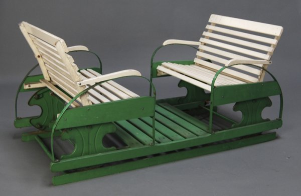 179: Childs 1930s Wooden 2-Seater Goshen Glider Swing