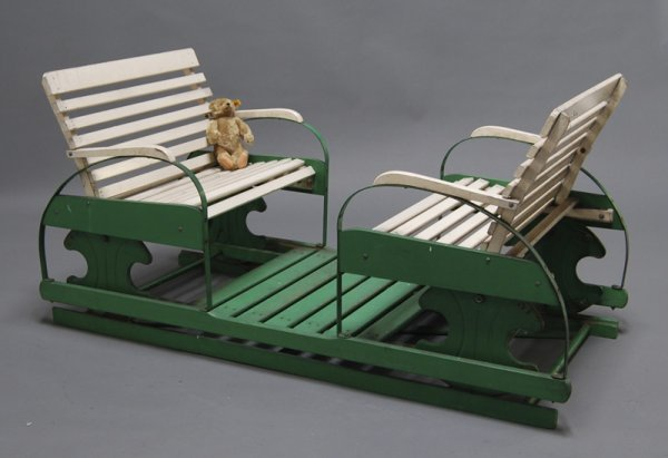 179: Childs 1930s Wooden 2-Seater Goshen Glider Swing - 3