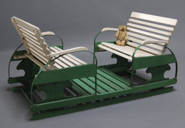 179: Childs 1930s Wooden 2-Seater Goshen Glider Swing - 4