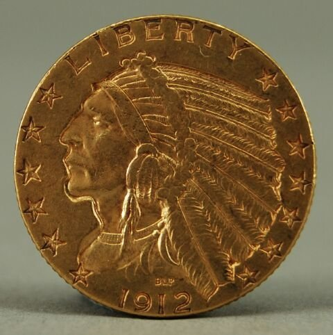 189A: 1912 Indian Head Half Eagle $5 American Gold Coin