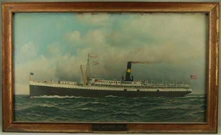 "300: Antonio Jacobsen ""Old Dominion"" Ship Oil Painting"