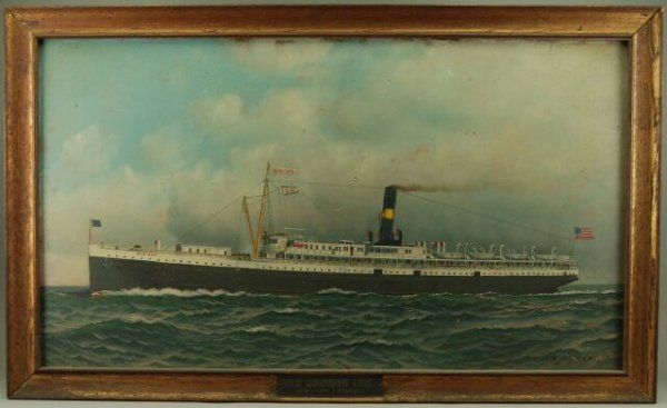"300: Antonio Jacobsen ""Old Dominion"" Ship Oil Painting"